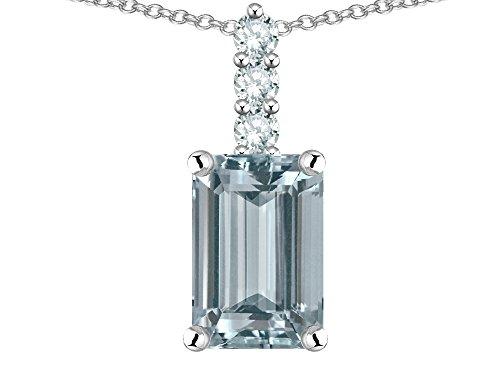 Star K 8x6mm Octagon Emerald Cut Genuine Aquamarine Three Stone Pendant Necklace 14 kt White Gold