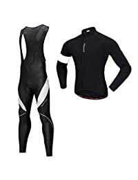 SM SunniMix Professional Quick-Dry Long Sleeve Cycling Jerseys Bib Pants Set Wear Breathable Cycling Fitness Set Bicycle Clothing Shirts Pad Brace Trousers
