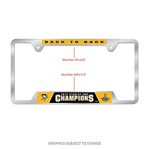 Pittsburgh Penguins Official NHL 2017 Stanley Cup Champions License Plate Frame Metal by Wincraft 422804