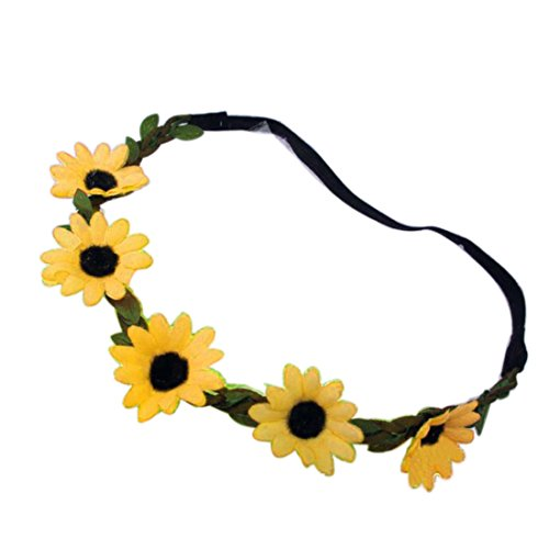 Bohemian Sunflower Headband Festival Wedding Sun Flower Floral Hair Garland Yellow