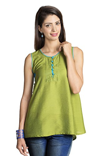 MOHR Women's Sleeveless Tunic Shirt Large Dark Green by MOHR - Colors of India