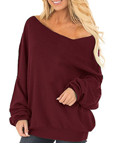 Auxo Women Off Shoulder Pullover Sweatshirt Lantern Long Sleeve Jumper Shirt Wine Red US 14/ASIAN XL (Beach Sweatshirt)