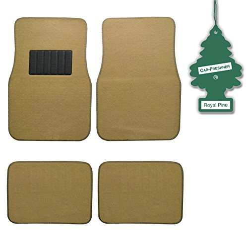 bdk-light-beige-4-pc-universal-carpet-car-mats-w-heel-pad-little-tree-royal-pine
