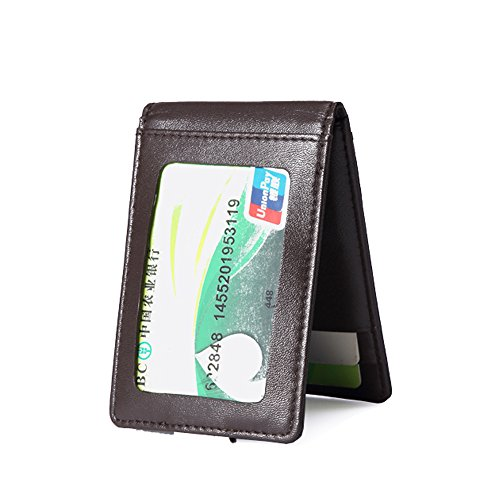 Woodland Leather Slim Line Wallet, Fold Over, 3 Credit Card Slots, External Money Clip ()