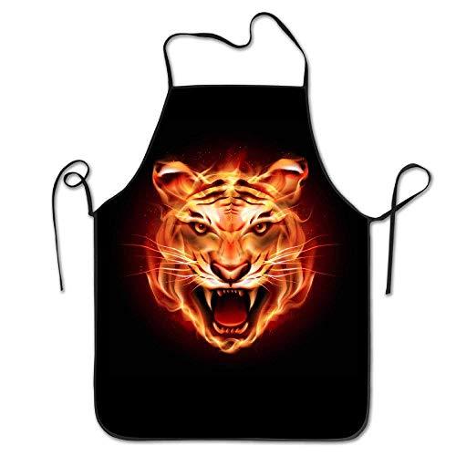 (Flaming Tiger Kitchen Apron for Women Painting Apron Dress Men Cooking Apron Pinafore)
