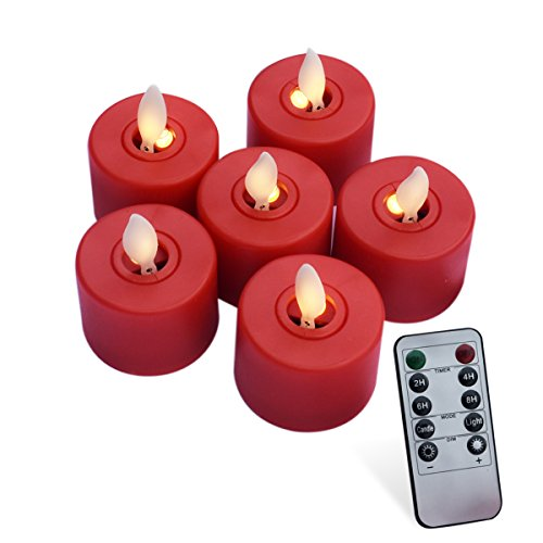 YXSM LED Tealight Candles Flameless Candles Set of 6 Flickering Candles Battery Operated Decoration, Holidays, Weddings and Party (Red)