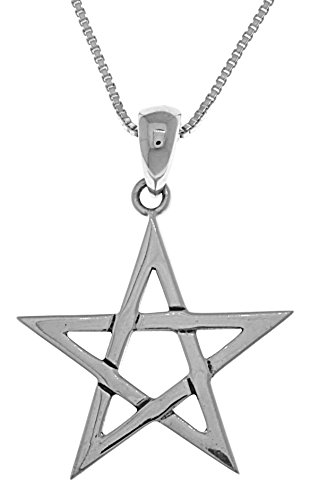 Jewelry Trends Five Point Star Sterling Silver Pendant Necklace 18