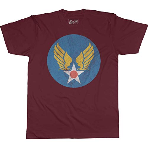 United States Army Air Forces Hap Arnold Wings Aeroplane Apparel T-Shirt Small Burgundy