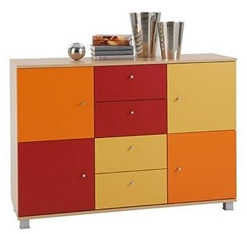 Fmd 433 004 Kommode Sophia Rot Orange Gelb Amazon De Kuche Haushalt