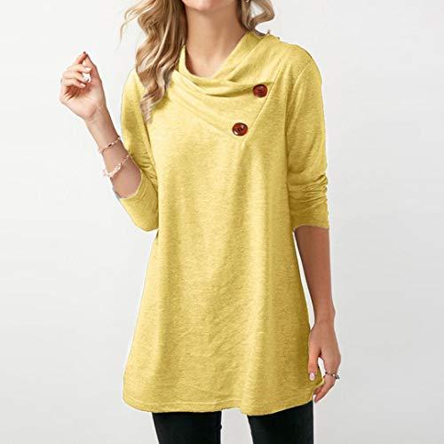 Shirt Xinantime Bouton Manches Top Tee Femme Jaune Femmes Chemise Longues Casual Automne et Hiver Blouse UUw7rFqA