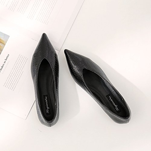 Xue Qiqi Sugerencia Calzado Plano de luz Plana con Solo Zapatos de Cuero Femenino Cuero Pintado con Baja Zapatos de Mujer Negro