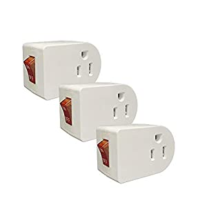Oviitech Grounded Outlet Wall Tap Adapter with Red Indicator On/Off Power Switch (3Pack)