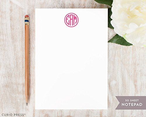 (PREPPY MONOGRAM NOTEPAD - Personalized Collegiate Stationery 5x7 or 8x10 Pad - Stationary Notes)