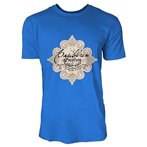 SINUS ART® Viktorianischer Druck mit Schriftzug Herren T-Shirts in Blau Fun Shirt mit tollen Aufdruck