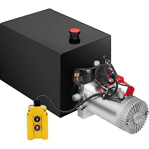Steel, 6 Quart//Single Acting Mophorn 6 Quart 12V Hydraulic Pump Dump Trailer Power Unit