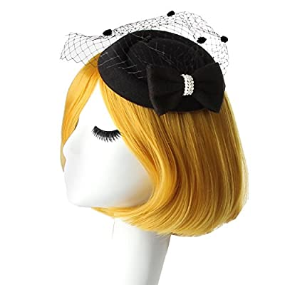 Acecharming Women's Feather Mesh Pillbox Hats Wedding Party Tea Bowler Derby
