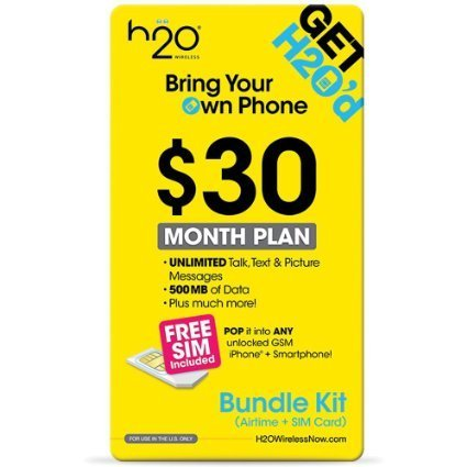 H2O Prepaid No Contract No Credit Check Duel Sim Card With $30 Plan  Included Nothing Else To Buy AT&T Network