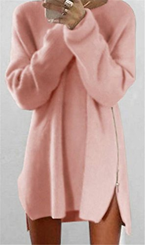 Cruiize Womens Robes Pulls Pull-over Côté Fermeture À Glissière Crewneck De Base Rose