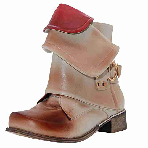 Kaloosh Women's Fashion Winter Woman Ladies Horse Riding Boots Vintage Combat Punk Ankle Shoes Women Short Boots Beige