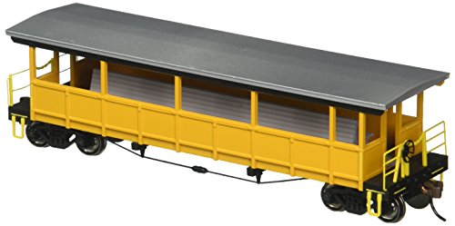 Painted, Unlettered - Yellow and Silver Open Sided Excursion Car with Seats. HO Scale