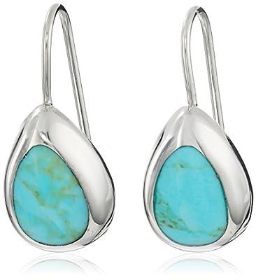 Sterling Silver Simulated Inlay Teardrop Earrings