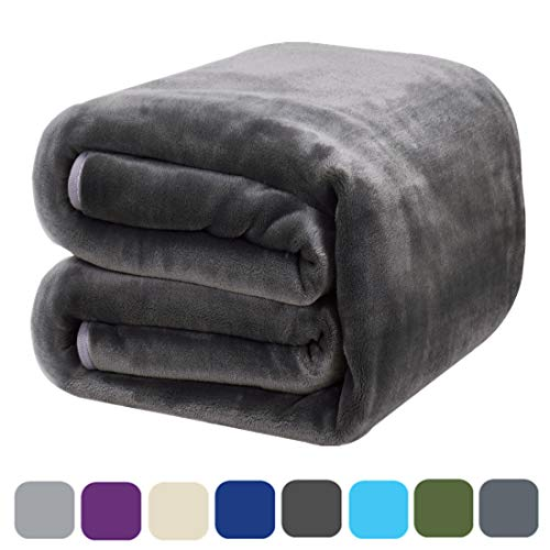(DREAMFLYLIFE Luxury Fleece Blanket Summer Thick Blanket Super Soft Blanket Bed Warm Blanket Couch Blanket for All Season Dark Grey Queen-Size, 90x90 in)