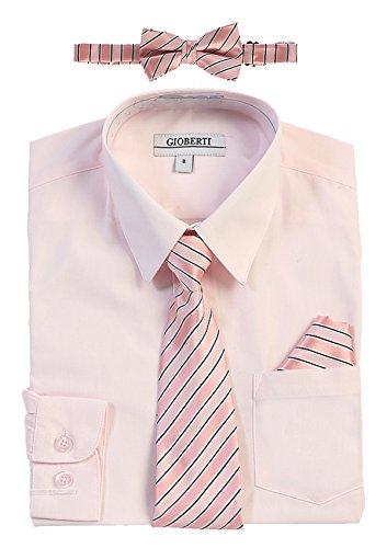 Gioberti Boy's Long Sleeve Dress Shirt and Stripe Zippered Tie Set, Pink, Size 10
