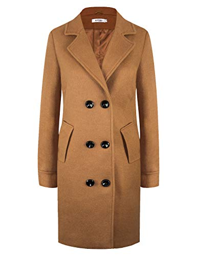 APTRO Women's Winter Double Breasted Wool Coat Long Lapel Overcoat WS01 Camel L
