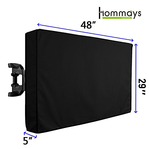Outdoor TV Cover Weatherproof Universal Protector for 46-48 Inch LCD LED Plasma TV Compatible with Standard TV Wall Mounts and Stands,Built in Remote Controller,Fully Seal Bottom