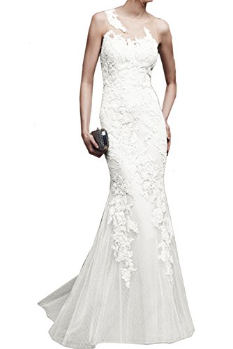 Ballkleid Damen Weiß Lang Elegant Promkleider Spitze Meerjungfrau Ivydressing Abendkleider dUSnYxYz