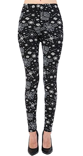 VIV Collection Plus Size Printed Brushed Ultra Soft Christmas Leggings (Snowflake Nighttime)