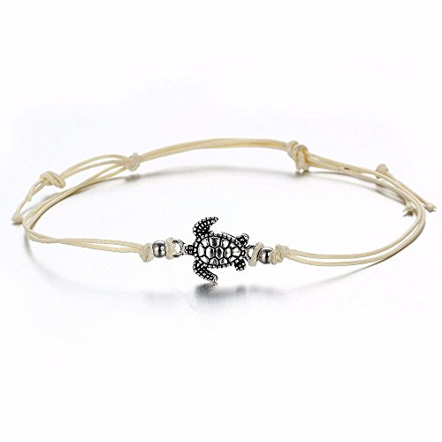 ErYao 1pcs Anklets,Women's Turtle Beach Foot Chain Anklets Vintage Bracelet Jewelry (White, Free Size) from ErYao
