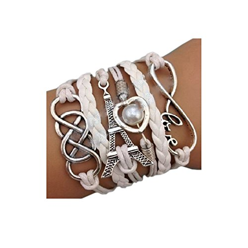 Darkey Wang Fashion Womens Tower 8 Double Word Infinity Symbol Love Hearts Pearl Leather Bracelet (Cute Halloween Fundraising Idea)