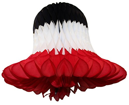 Ladybug Ornaments Bell (3-pack 9 Inch Honeycomb Tissue Paper Bell (Black/White/Red))
