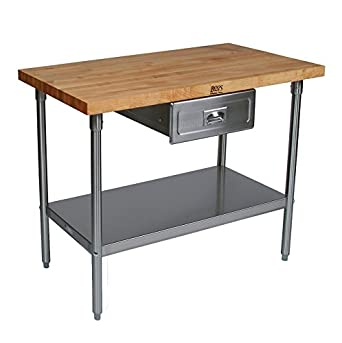 Cucina Americana Prep Table With Wood Top Drawers: Not Included, Size:  48u0026quot;