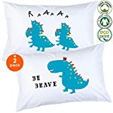 Odds n Dreams 100% Organic Toddler Pillowcase, Cute Dinosaur Pillowcase for Kids (Set of 2, Standard Size)