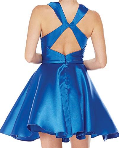 Cocktailkleider Partykleider Satin Oberhalb Promkleider Abendkleider Knie Rot von Damen Brautjungfernkleider Charmant Mini x6EwII