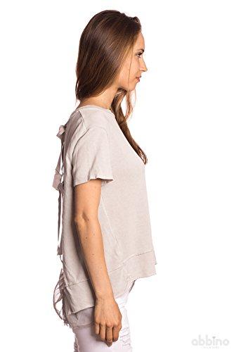 Abbino 8175-1 Camisetas Tops para Mujer - Hecho en ITALIA - Varios Colores - Moderno Transición Primavera Verano Otoño Vintage Camisetas Elegante Fiesta Venta Flexible Joven Dulce Delicado Gris (Art. 8175-2)