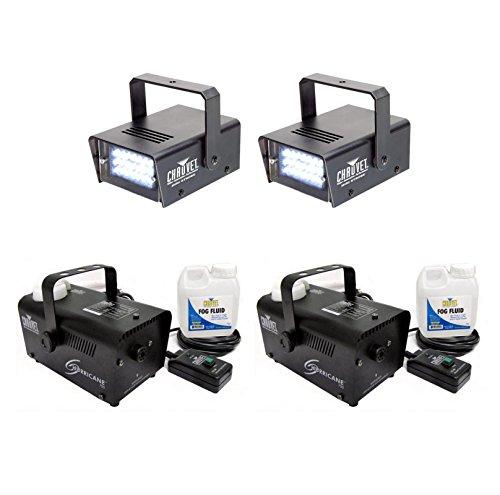 2) CHAUVET CH-730 Mini Strobe Lights + 2) Hurricane 700 H700 Fog Smoke Machines (Halloween Smoke Machine)