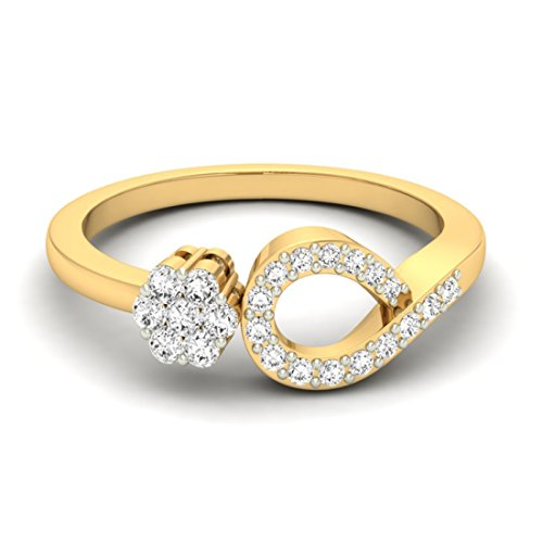 Or jaune 18 K 0,22 CT TW Round-cut-diamond (IJ | SI) en diamant