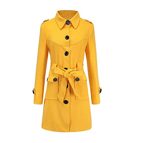 (Women Gothic Black Yellow Red White Wool Jacket Coat Office Lady Outerwear Woolen,Yellow Woolen Coat,M)