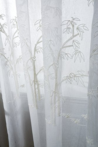 WPKIRA Machine Washable Contemporary and Contracted White Bamboo Design Rod Pocket Top Embroidered Home Fashion Linen Voile Tulle Sheer Window Curtain Drape Panel for Bedroom, 1 Panel W40 by L63 inch