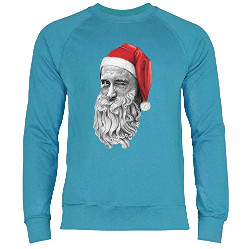 Felpa Christmas Uomo Blue Babbo Ugly Putin Wowshirt Natale Azure t5dwqaxtp