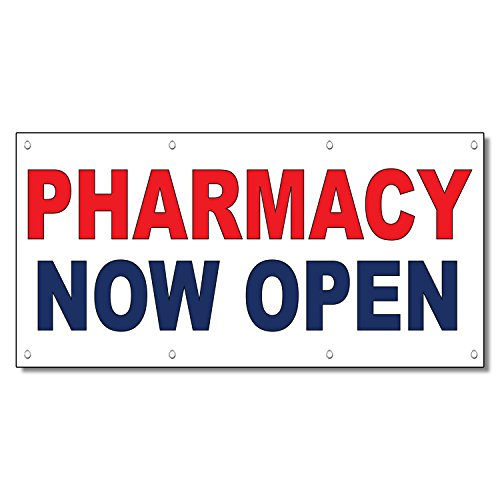 Pharmacy Now Open Red Blue 13 Oz Vinyl Banner Sign With Grommets 3 Ft x 6 Ft