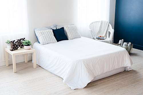 Large King Weighted Blanket Set with Cotton Cover by PPB | 104 x 90 Inch Total Size, Weight in 75 x 65 Inch Area for Ideal Pressure | Fits Over Edges of King-Size Bed | White, 20 lbs, for Adults