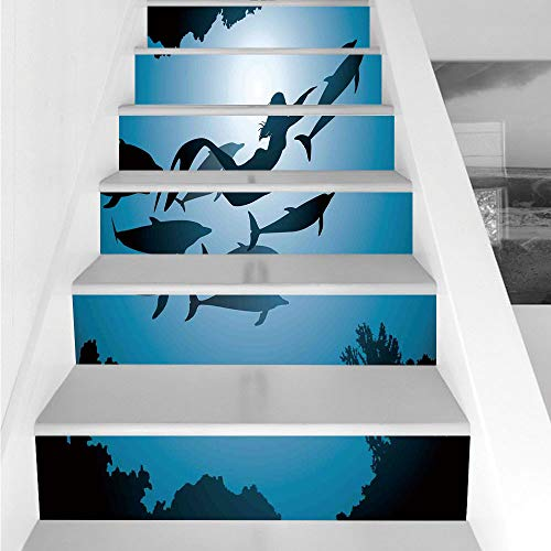 Stair Stickers Wall Stickers,6 PCS Self-Adhesive,Mermaid Decor,The Mermaid and Dolphins Underwater View Friendship Travel Diving Fin Sea,Stair Riser Decal for Living Room, Hall, Kids Room Decor