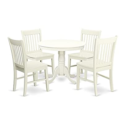 ANNO5-LWH-W 5 Pc Kitchen table set with a Dining Table and 4 Wood Seat Kitchen Chairs