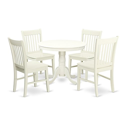(ANNO5-LWH-W 5 Pc Kitchen table set with a Dining Table and 4 Wood Seat Kitchen Chairs in Linen White)