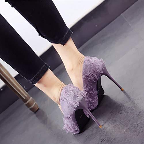 de 35 EU de Estilete de Solos 39 Tacones Borla Boca Zapatos Punta Trabajo YMFIE Aguja UE Europeo púrpuras Baja con Estilo Zapatos qEy0v1U