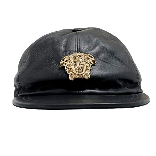 Versace 100% Leather Black Logo Embellished Men's Hat Sz ()